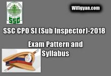 SSC CPO SI(Sub Inspector)-2018, Exam Pattern and Syllabus Full Information