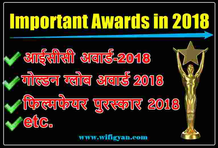 Important Awards in 2018 free PDF Download in Hindi