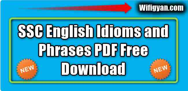 SSC English Idioms and Phrases PDF Free Download
