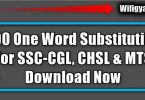 400 One Word Substitution For SSC-CGL Free PDF Download