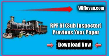 RPF SI (Sub Inspector) Previous Year Paper Free PDF Download