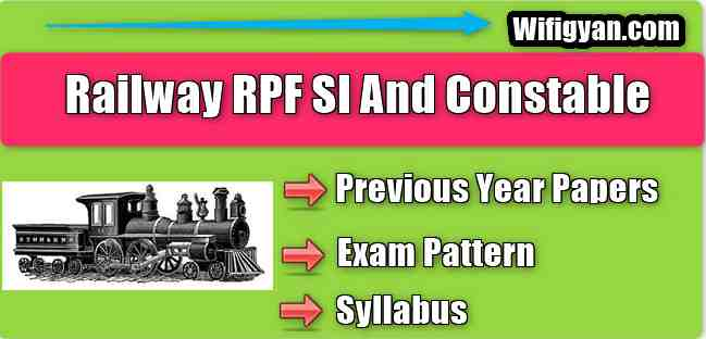 RPF SI and Constable Previous Year Paper Download Free PDF