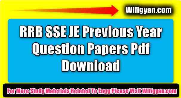 RRB SSE JE Previous Year Question Papers Pdf Download