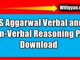 RS Aggarwal Verbal and Non-Verbal Reasoning