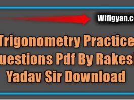 Trigonometry Practice Questions Pdf By Rakesh Yadav Sir