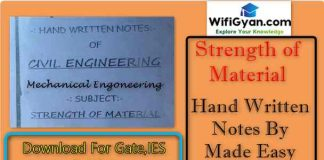 strength of materials handwritten notes pdf Archives - Wifi Gyan