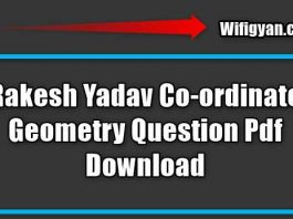 Rakesh Yadav Co-ordinate Geometry Question Pdf Download