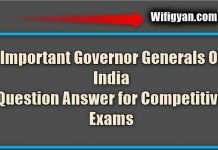 Important Governor General Question Answer for Competitive Exams
