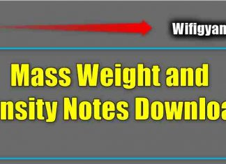 Mass Weight and Density Notes Download