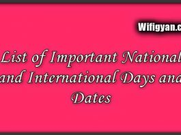 List of Important National and International Days and Dates