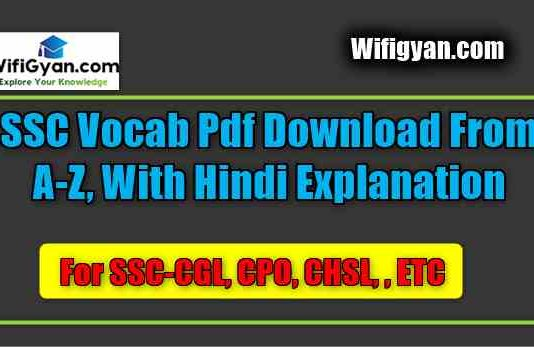 SSC Vocab Pdf Download From A-Z,