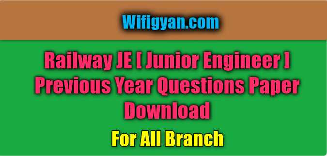 RRB JE Previous Year Paper Download | Railway Junior Engineer |