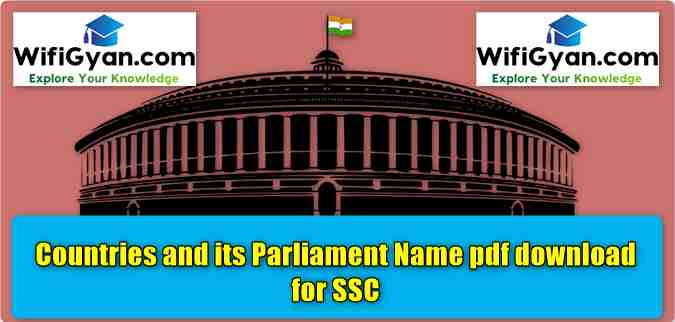 Countries and its Parliament Name pdf download for SSC