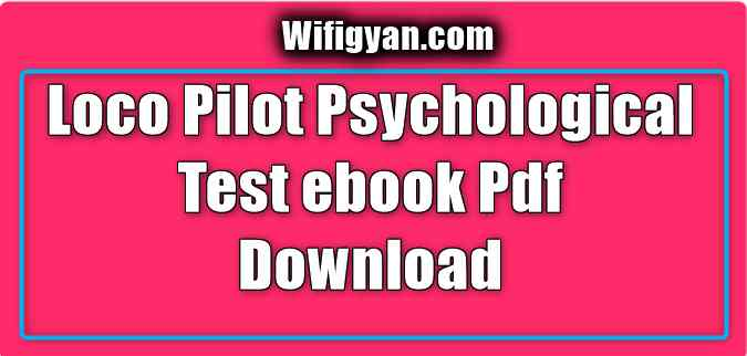 Loco Pilot Psychological Test ebook Pdf Download