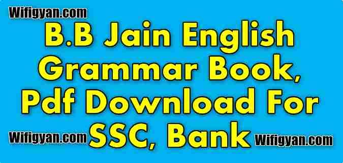 B.B Jain English Grammar Book, Pdf Download For SSC, Bank