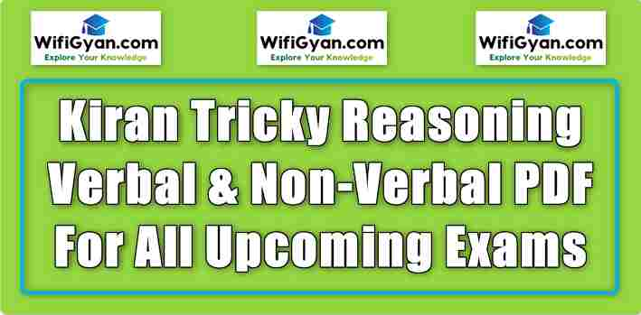 Kiran Tricky Reasoning Verbal & Non-Verbal PDF For All Upcoming Exams