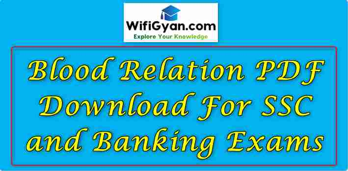 Blood Relation PDF Download For SSC and Banking Exams