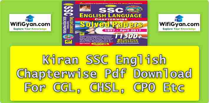 Kiran SSC English Chapterwise Pdf Download For CGL, CHSL, CPO Etc