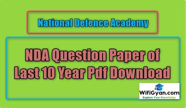 NDA Question Paper of Last 10 Year Pdf Download