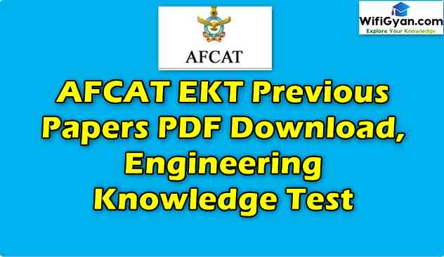 AFCAT EKT Previous Papers PDF Download, Engineering Knowledge Test