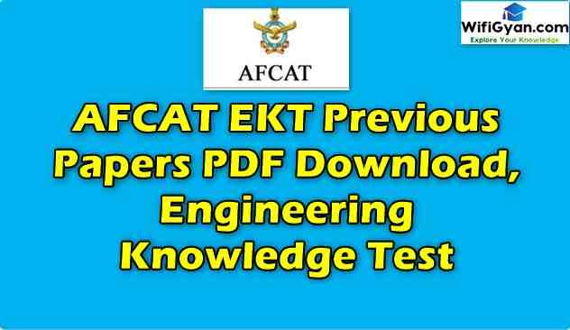 AFCAT EKT Previous Papers PDF Download, Engineering Knowledge Test