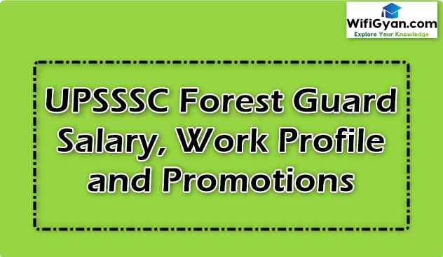 UPSSSC Forest Guard Salary, Work Profile and Promotions