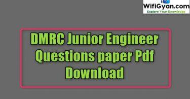 DMRC Junior Engineer Questions paper Pdf Download