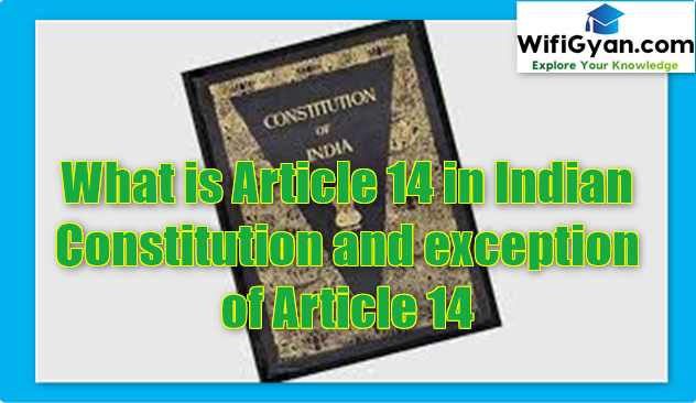 What is Article 14 in Indian Constitution and exception of Article 14
