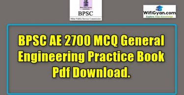 BPSC AE 2700 MCQ General Engineering Practice Book Pdf Download.