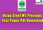 Vizag Steel MT Previous Year Paper Pdf Download