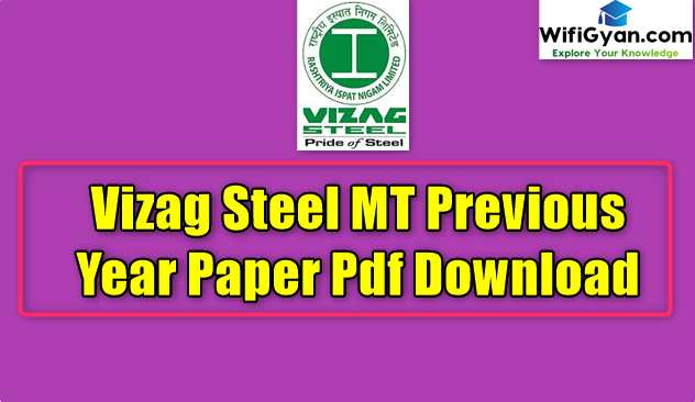 Vizag Steel MT Previous Year Paper Pdf Download