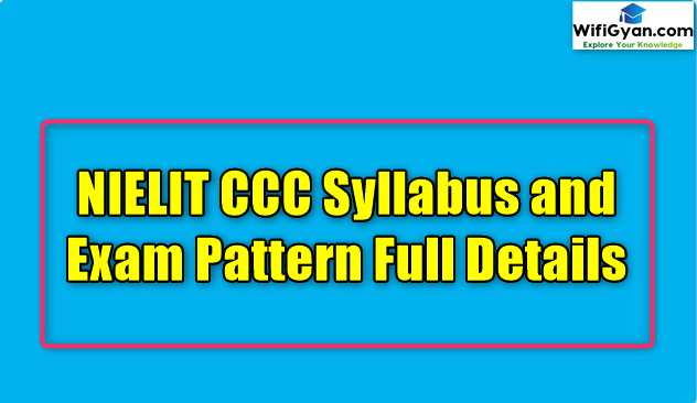 NIELIT CCC Syllabus and Exam Pattern Full Details