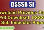 DSSSB SI Previous Paper Pdf Download, DSSSB Sub Inspector Paper