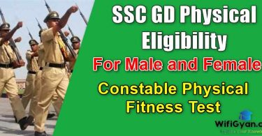 SSC GD Physical Eligibility, For Male and Female, Constable Physical Fitness Test