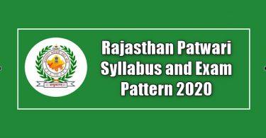 Rajasthan Patwari Syllabus and Exam Pattern 2020