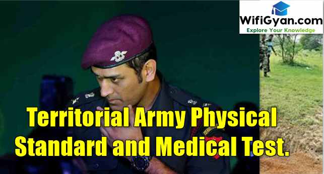 Territorial Army Physical Standard and Medical Test.