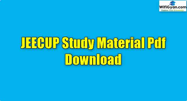 JEECUP Study Material Pdf Download