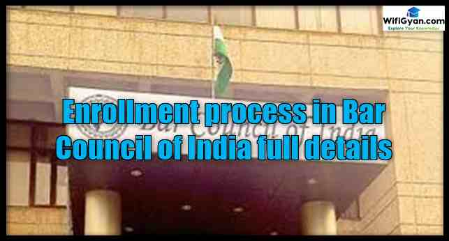 Enrollment process in Bar Council of India full details
