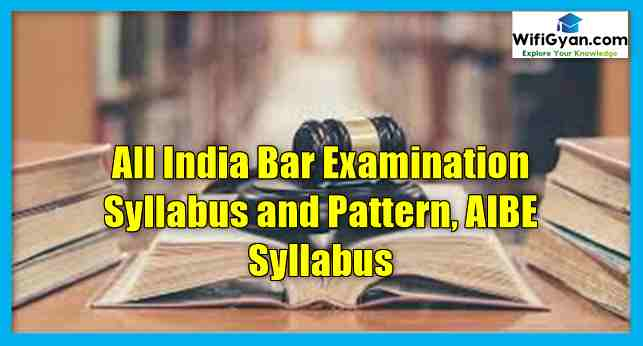 All India Bar Examination Syllabus and Pattern, AIBE Syllabus