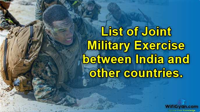 List of Joint Military Exercise between India and other countries.